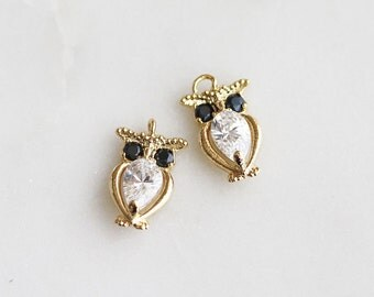 P0-692-G] Cz Cubic Owl / 8 x 12mm / Gold plated / Pendant / 2 piece(s)