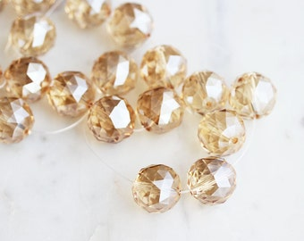 A2-683-1-15] Peach Crystal / 15mm / Faceted Round Ball Bead  / 1/2 strand