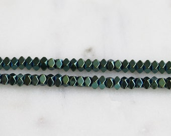 A3-019-1] Green Color plated Hematite / 3mm / Bead  / 1/2 strand
