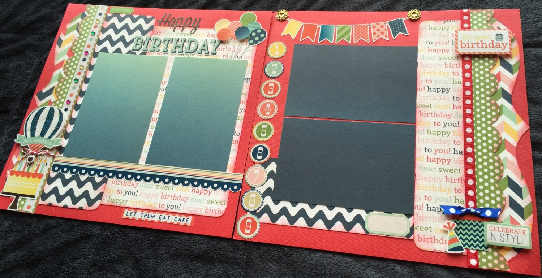 Birthday Themed Scrapbook Page Kit 12x12 Scrapbook Layout