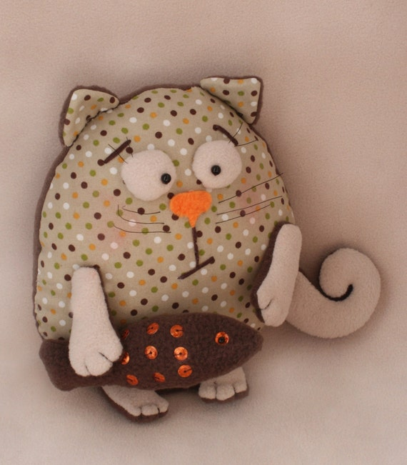 Sewing Pattern Cat Pillow: DIY Kit Rag doll kit sewing pattern Cat Pillow Easy to do,