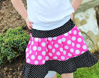 Little Girls Skirt, Little Girls Twirl Skirt, Toddler Skirt, Pink and White Polka Dot, Black and White Pin Dot Ruffle, Made to Order