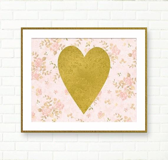 Gold heart wall decor : Heart print gold pink nursery wall art printable