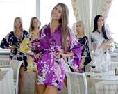 Bridesmaid Robes, Set of 8 Bridesmaid Satin Robes, Kimono Robe, Fast Shipping from New York, Regular and Plus Size Robe