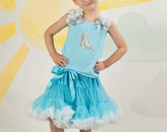 Cinderella Shoe Inspired Princess Pettiskirt Set, Halloween Costume, Little Girl, Toddler, Big Girl