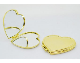 Compact Mirror-heart, steel, nickel