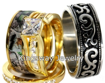 4 piece 14k gold sterling silver stainless steel camo wedding rings set - Camouflage Wedding Ring Sets