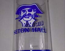 """Seton Hall Pirates Glass Getty 5.5"""" Big East Basketball Cup Vintage 80s Collectible Gift Idea New Jersey South Orange University"""