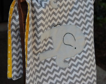 Elephant Friends blanket in Gray Chevron and Yellow