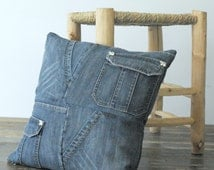 dark blue recycled pathwork jeans pillow cover cushion with pockets