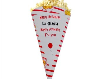Happy birthday popcorn or sweet cones for birthday parties.  Personalised.  Pack of 20
