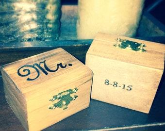 Small Mr & Mrs ring box set , ring bearer pillow alternative