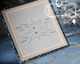 Haute Grey Bespoke Place Cards / Escort Cards DEPOSIT - Silver and Gray Wedding - Reception Seating, Custom Design Wedding Name Cards