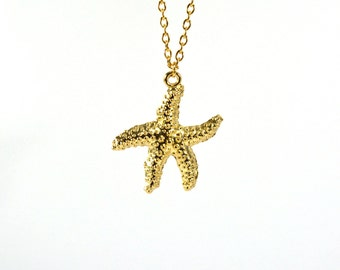 Gold Starfish necklace, beach necklace, summer jewelry
