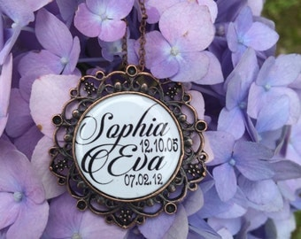 Antique bronze Mothers necklace with childrens names and birthdates  FREE SHIPPING!!