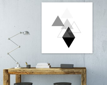 Geometric Art Print, Printable Art, Large Print, Black and White Art, Modern  Art, Minimalist Art,  Digital Download, Wall Decor