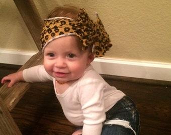 Baby turban bow headband, adult turban bow headband, child turban bow headband, leopard print bow headband, messy bow headband