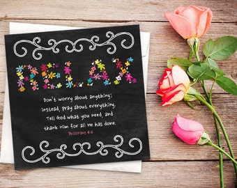 Encouragement card Phillipians 4:6 quote greeting card Christian card