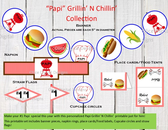 """67 Best Images About Napkin Rings Menu Cards On: Papi's """"Grillin' N Chillin"""" Printable, Fathers Day Banner"""