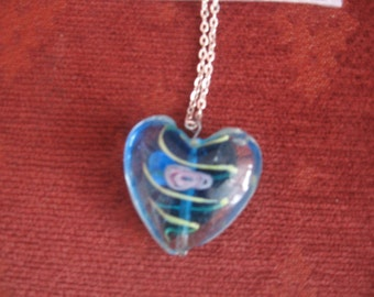 Heart on a silver chain necklace
