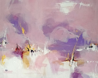 Abstract Art on canvas Original Art Abstract Wall art Abstract Painting Pink Painting Canvas Art Modern artwork Wall hanging Home decor
