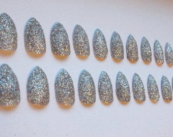 Silver Glitter False Stiletto Nails with Glue - 20 Nails, 10 Sizes