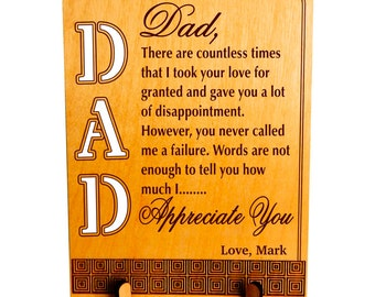 Custom Gift for my Dad,Thanksgiving Gift for Dad,Appreciation Keepsake Gift, Son to Dad Gift, Daughter to Dad Gift, Gift to my Father,PLD001
