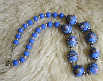 Pretty Baby Blue Lampwork Bead Necklace Made By Me
