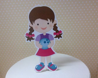 Girls and Boys Bowling Cake Topper Decoration