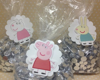Peppa Pig Party Candy or Favor Bags and Tags - Set of 10