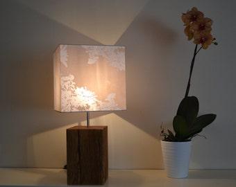 Table lamp reclaimed oak