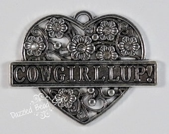 38mm x 48mm metal COWGIRL heart pendant
