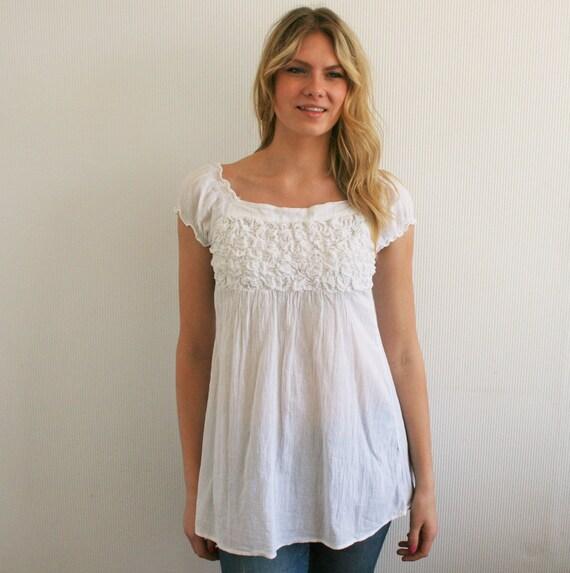neige blanc blouse mini robe boho hippie top chemise blanche. Black Bedroom Furniture Sets. Home Design Ideas
