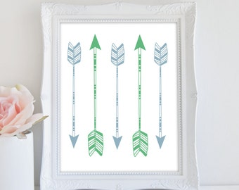 Arrow Art Print, Tribal Print, Instant Download, Green And Blue Nursery Art, Arrow Wall Art