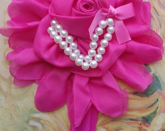 Hot Pink Flower Headband with Pearls