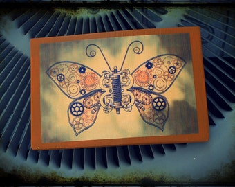 """Wood sign """"Butterfly"""", hand-made wall decor. Steampunk"""