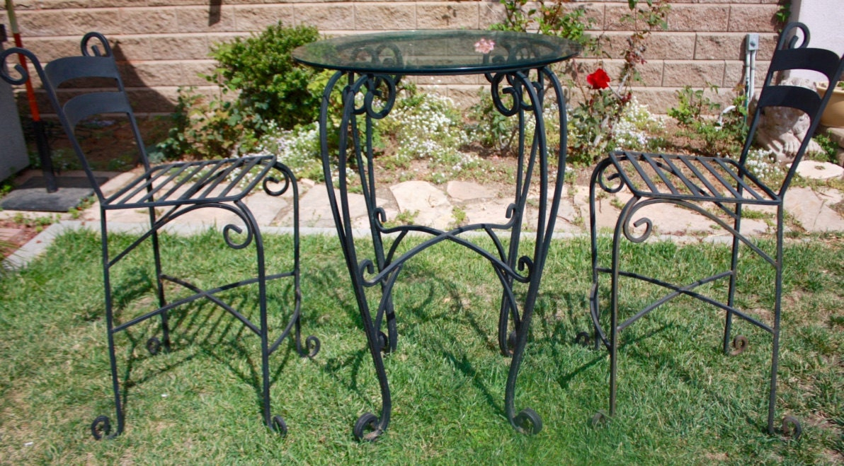 Bar Height Patio Set Wrought Iron Bistro Set Outdoor