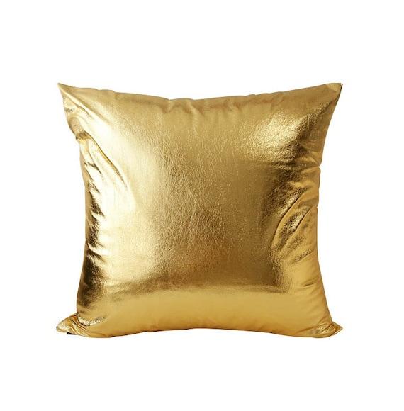 Gold Metallic Decorative Square Throw Pillow Cover Cushion