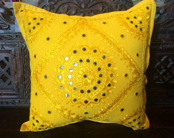 Mirror work pillow cover
