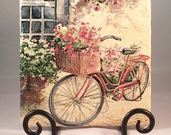 Bicycle with Flowers Basket Trivet (hot pad)