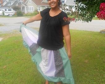 Full Length Patchwork Paneled Spring Skirt