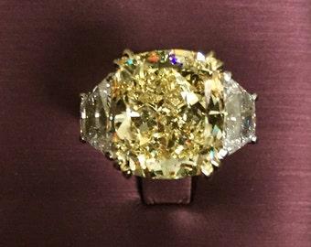 Platinum Fancy Yellow Cushion Cut Diamond Engagement Ring
