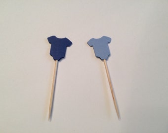 24 assorted blue baby onesie toothpicks, baby shower, baby boy shower, appetizer picks, food picks, cupcake toppers