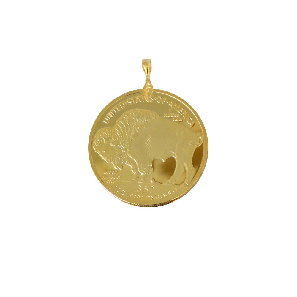 50 Dollar Liberty Buffalo Coin Pendant 24k Gold Plated