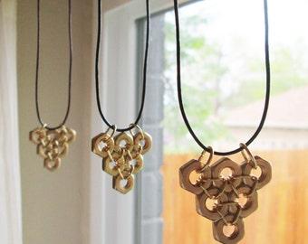 Honeycomb Leather Necklace, Brass hex nut necklace