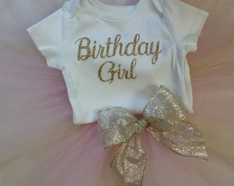 Birthday Girl Pink and Gold Tutu Outfit