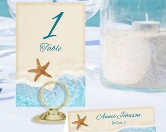Beach Table Number and Place Cards BCH-02-TN-PC-Digital Download