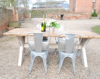 Rustic Reclaim Pine X Frame hand made dining table