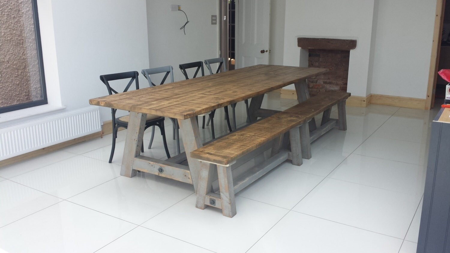 Rustic reclaim pine dining table 10 feet long matching for 10 foot long table