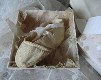 White Vintage Baby Shoe boudoir french shabby chic
